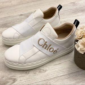 Chloe Logo White & Beige Slip On Sneakers